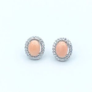 Jewelry - 🛍925 SS Natural Coral Oval Stud Earrings🛍